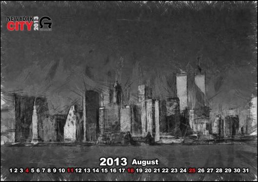 Calendar for the City of New York in 2013 - Календарь для города Нью Йорк на 2013 год